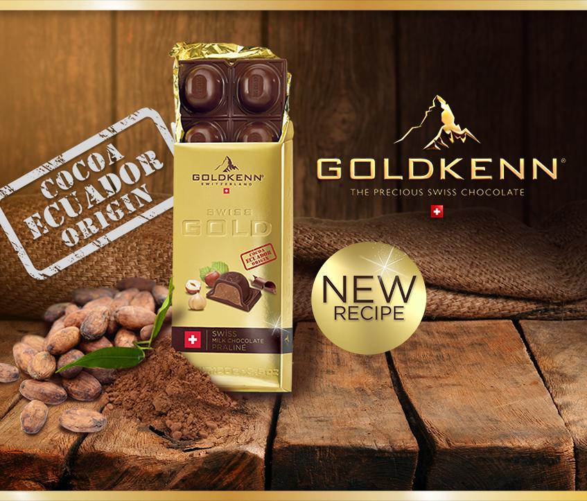 LA TABLETTE DE CHOCOLAT SWISS GOLD AU CACAO D'ORIGINE 100% EQUATEUR